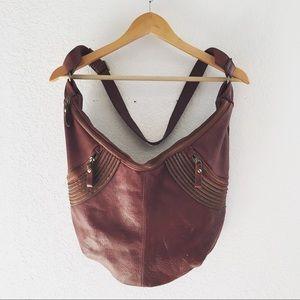 Tano Brown Leather Hobo Bag